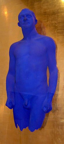 1961 Yves Klein patents his use of International Klein Blue.    Sculpture by Yves Klein with a strong use of a color close to electric ultramarine, a bright, vivid tone of International Klein Blue.