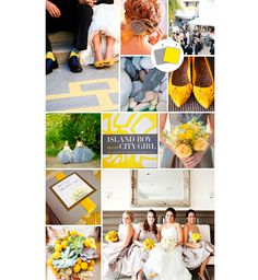 Amarelo e cinza para a decoração do casamento