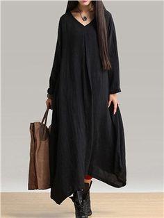 Ericdress Plain V-Neck Ethnic Maxi Dress