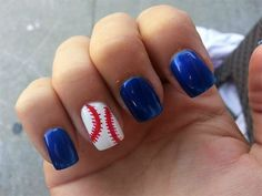 Got baseball spirit? Cute baseball nail polish!