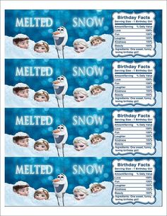 Instant Download Disney Frozen Printable Water Bottle Label, Birthday Water Bottle Label, Melted Snow Frozen Label: