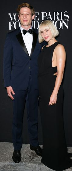 British actors James Norton and Eleanor Wyld wearing Burberry at the  Vogue Paris Foundation Gala in Paris