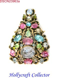 23963a - Vintage Hollycraft 1950 Pastel Christmas Tree Medium Brooch/Pin
