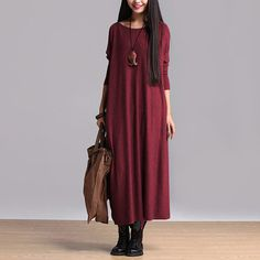 4colors Batwing sleeve long sweater dress/Large by SoftFashion