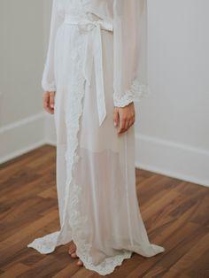 Floor Length Lace Chiffon Bridal Robe   VALENCIA ROBE – Davie & Chiyo