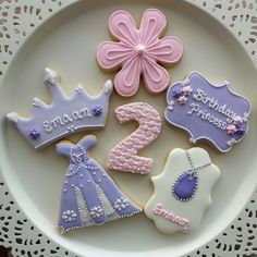Sofia the first cookies (12 cookies) by JEdibleArt on Etsy https://www.etsy.com/listing/216980770/sofia-the-first-cookies-12-cookies
