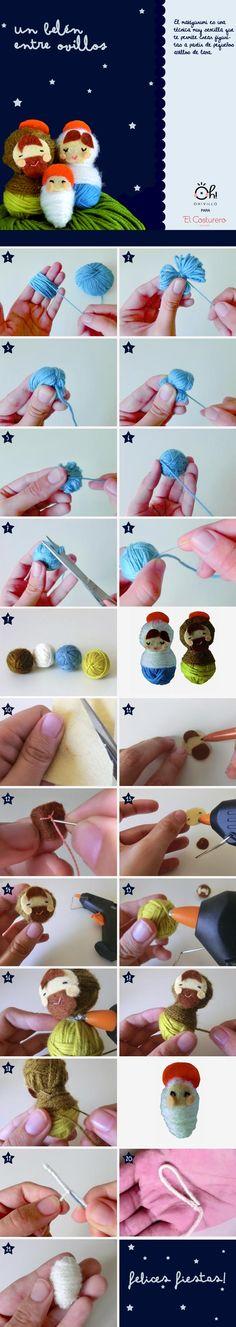 nacimiento con ovillos de lana ✭Teresa Restegui http://www.pinterest.com/teretegui/ ✭