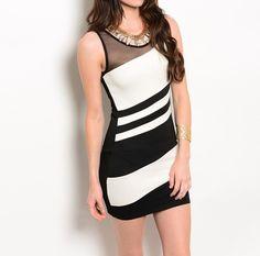 Diagonal Striped Bodycon Dress in Black & White #USTrendy www.ustrendy.com