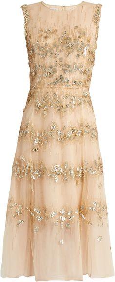 OSCAR DE LA RENTA Embellished A-line tulle dress