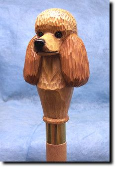 Poodle Dog Walking Stick. Our unique selection of handpainted Dog Breed Walking Sticks is sure to please the most discriminating Dog Lover! Be the envy of everyone with this unique canine walking stick. Comes in 5 great colors: Apricot, Black, Brown, Red and White. Each walking stick or sometimes known as a walking cane, measures approximately 36 inches in length.