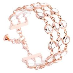 Ted Baker London 'Gevah' Three Row Crystal Bracelet ($68) ❤ liked on Polyvore featuring jewelry, bracelets, rose gold, crystal bangle, crystal stone jewelry, ted baker, crystal jewelry and metallic jewelry
