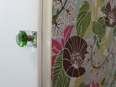 Green glass knob with matching wallpaper Matching Wallpaper, Glass Knobs, Ikea, Mirror, Home Decor, Decoration Home, Ikea Co, Room Decor, Mirrors
