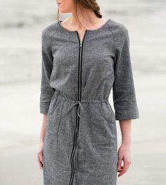 Grey Hemp Zip Front Dress.