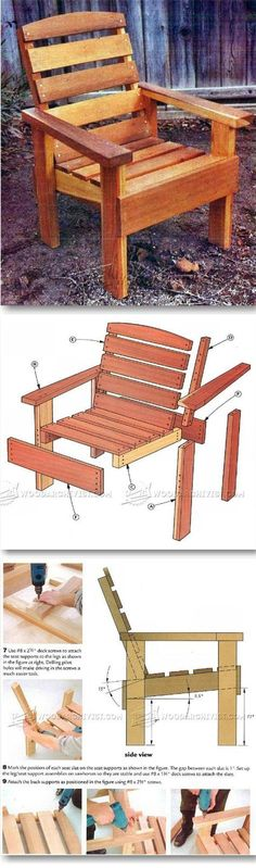 Deck Chair Plans - Outdoor Furniture Plans & Projects on Home Inteior Ideas 382 Outdoor Furniture Chairs, Deck Chairs, Pallet Furniture, Furniture Projects, Wood Projects, Pallet Chairs, Garden Projects, Garden Furniture, Adirondack Chair Plans