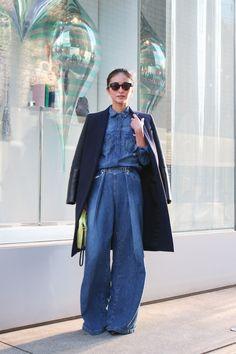 Street Style: Yoshiko Kris-Webb in Tokyo. Wearing CÉLINE, DIESEL, JOHN LAWRENCE SULLIVAN, ZARA, & DITA. | Fashionsnap.com