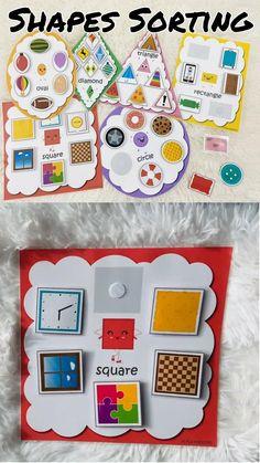 Shape Activities For Preschoolers, Pre School Activities, Sorting Activities, Preschool Learning Activities, Infant Activities, Toddler Preschool, Preschool Crafts, Toddler Activity Bags, Shape Sort