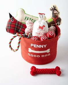 The ULTIMATE Dog Toy Gift Basket!! AND it comes personalized too!