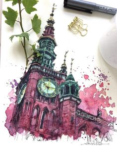 Sketch by Akihito Horigome (@horiaki2) в Instagram: «ポーランド・グダニスク旧市庁舎 — Main Town Hall , Gdansk , Poland #aquarell #art #painting #watercolor #watercolour #sketch #paint #drawing #sketching #sketchbook #travelbook #archisketchery #sketchaday #sketchwalker #sketchcollector #artjournal #traveldiary #topcreator #usk #urbansketch #urbansketchers #скетчбук #скетч #скетчинг #pleinair #aquarelle #watercolorsketch #usk #architecture #painting #illustration