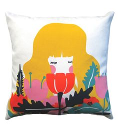 Image of Girl In Flowers Cushion