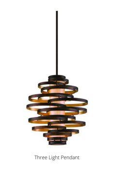 In Bronze And Gold Leaf by Corbett Lighting from the Vertigo collection. Pendant Lighting, Chandelier, Ceiling Fan, Ceiling Lights, Corbett Lighting, Retro Lighting, Vertigo, Accent Furniture, Gold Leaf