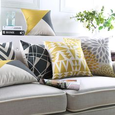 Modern Geometric Cushion Yellow decorative throw pillows living room couch pillows outdoor floor chair seat cushions home decor