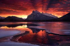 """""""The Beginning"""" - Banff National Park, Alberta. """"The most amazing light show I have ever seen, captured over Mount Rundle in Banff National Park, Alberta. Beautiful Landscape Photography, Beautiful Landscapes, Nature Photography, Landscape Photos, Reflection Photography, Mountain Photography, Winter Landscape, Color Photography, Landscape Art"""