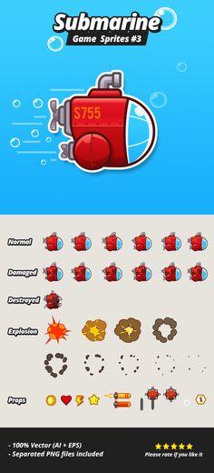 Submarine Game Sprites 3 by hamdirizal.deviantart.com on @DeviantArt