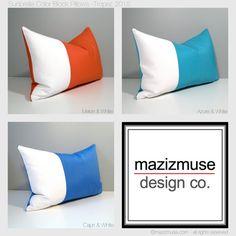 Custom Color Block Outdoor Pillow Cover - Modern Outdoor Pillow - Colorful Outdoor Pillow - Blue White Sunbrella Outdoor Cushion - Mazizmuse