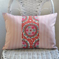 Decorative Lumbar Pillow Rosy Red Pink Amy Butler Cameo and Ticking 12x16 Pillow Cover. $20.00, via Etsy.
