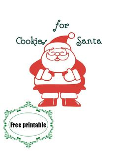 #santa #printable. Make a #Cookies for Santa plate.