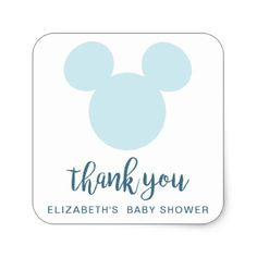 Mickey | Blue Aztec Baby Shower - Thank You Square Sticker - shower gifts diy customize creative