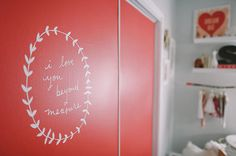 Painted wardrobe doors with a decal. Divine!