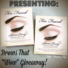 Time is running out, Beauties! Enter by 9/1/15 for a chance to win this Too Faced Brow Envy Kit.
