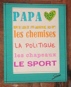 Les ateliers ARTiFun - ateliers créatifs en Guadeloupe - scrapbooking décopatch bricolage peinture: Tableau Papa aime....