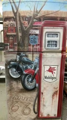 Custom painted refrigerator by Automotive Tattoos. Refrigerator Decoration, Paint Refrigerator, Painted Fridge, Refrigerator Wraps, Old Garage, Garage Art, Man Cave Garage, Garage Ideas, Modern Refrigerators
