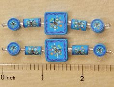 10 Assorted Fimo Polymer Clay Fun Blue Butterfly Coin Square Tube 2 Sided Beads #Assorted