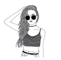 #outlines#hipster #tumblr #instagram #fame #hype #blackandwhite #black #white #girl#sunglasses#drawing#chocker#90s#croptop