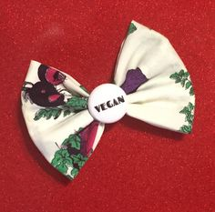 A personal favorite from my Etsy shop https://www.etsy.com/listing/387099064/vegan-pride-veggie-print-hair-bow