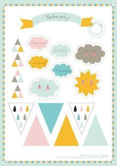 FREE cloud party printables {little honey pie} c'est de là j'ai découpé les triangles, fanions et arc en ciel.