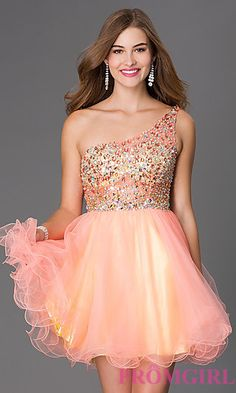 Short One Shoulder Jewel Embellished Dress at PromGirl.com
