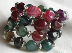Agate Memory Wire Bracelet by CinsWhims on Etsy, $28.00