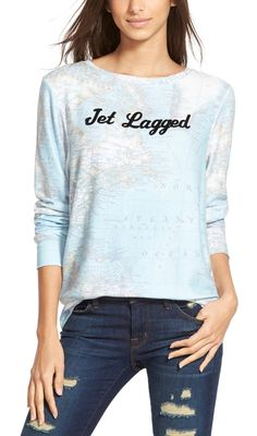 Indulging your wanderlust can be exhausting, but this soft pullover announces the current energy level with a cute velvet font.