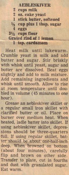 aebleskiver recipe with yeast | Aebleskiver Recipe Clipping | RecipeCurio.com