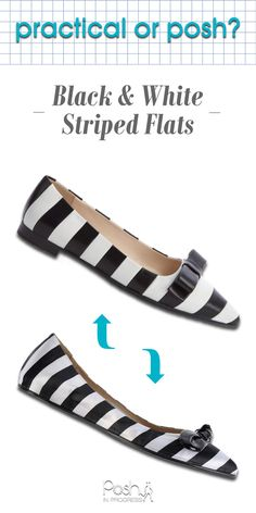 These Black and White Striped Flats are so adorable! I've picked out one budget-friendly version and one lux version. Check them out here: http://posh.so/1CuCUkC #shoes #flats #poshinprogress