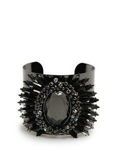 MANGO - Accessoires - Sieraden - Brede armband met gefacetteerde kristallen