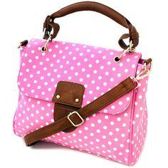 pink and brown polka dot handbags | Home Pink Polka Dot Canvas Satchel Bag