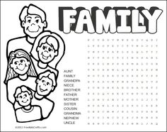When you need a quiet time activity just pull out stash of Word Search Coloring Pages. Some people have small families and some have big families but Quiet Time Activities, Family Activities, Family Theme, Word Search Puzzles, Kids Math Worksheets, Leader In Me, Daisy, How To Start Conversations, Word Games