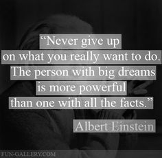 """""""Never give up on what you really want to do.  The person with big dreams is more powerful than one with all the facts."""" -- Albert Einstein"""