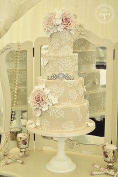 Brushed Lace wedding cake. LOVE the colors more than anything