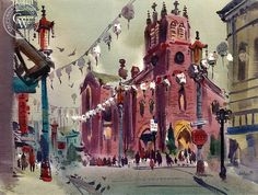 St. Mary's, Chinatown, c. 1940's Biography: Jade Fon (1911-1983) Born: San Jose, CA; Studied: University of Arizona, Art Students League (Los Angeles); Member: American Watercolor Society, California Water Color Society. Jade Fon grew up in Winslow, Arizona. During the 1930s, he moved to Los Angeles where he continued his education at the Art Students League and.